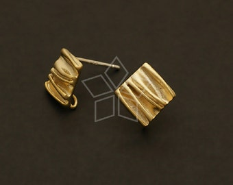 SI-454-MG / 4 Pcs - Wrinkle Earring Findings, Matte Gold Plated, with .925 Sterling Silver Post / 11mm x 11mm