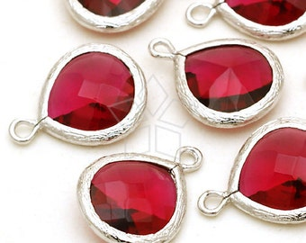 PD-257-OR / 2 Pcs - NEW Fancy Drop Pendant (Ruby), Silver Plated over Brass / 13mm x 17mm