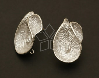 SI-461-OR / 2 Pcs - Orchid Flora Earrings, Silver (Soft Luster) Plated, with .925 Sterling Silver Post / 15mm x 25mm