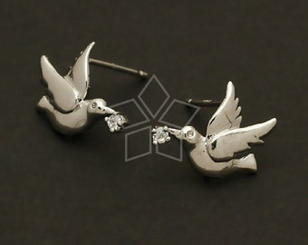 SI-219-OR / 2 Pcs - Dove Earrings, Silver Plated over Brass Body with .925 Sterling Silver Post / 14mm x 11mm