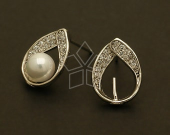 SI-464-OR / 2 Pcs - Jewel Drop Earring Findings, Silver Plated, with .925 Sterling Silver Post / 11mm x 15mm