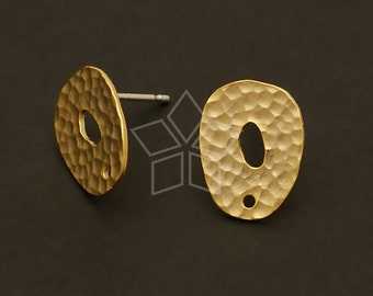 SI-344-MG / 4 Pcs - Moonrocks Earrings, Matte Gold Plated over Brass with .925 Sterling Silver Post / 10mm x 14mm