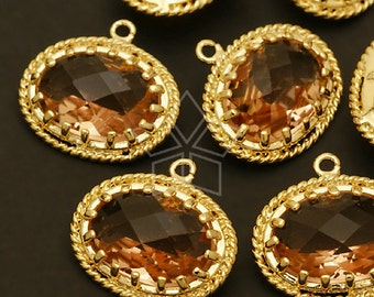 PD-286-GD / 2 Pcs - Ellipse Bezeled Pendant (Champagne), Gold Plated over Brass / 17mm x 15mm