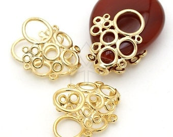 CP-027-MG / 2 Pcs - Bubble Bead Cap (Free Size), Matte Gold Plated over Brass / 12mm x 14mm