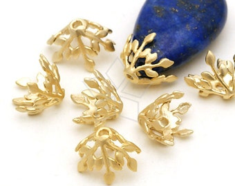 CP-032-MG / 2 Pcs - Laurel Leaf Bead Cap (Free Size), Matte Gold Plated over Brass / 8mm x 10mm