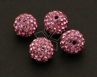 TR-002-RS / 2 Pcs - Cubic Cray Ball (Rose Pink), Half Drilled / 8mm