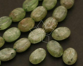 GM-K08-GR / 10 Pcs - Green Kyanite Oval Beads, Natural Green / 6mm x 8mm
