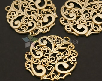 AC-260-MG / 2 Pcs - Round Paisley Pendant, Matte Gold Plated over Brass / 25mm x 27mm