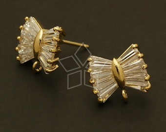 SI-351-GD / 2 Pcs - Cubic Bow Tie Earring Findings, Gold Plated, with .925 Sterling Silver Post /  13mm x 11mm