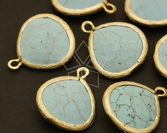 PD-301-MG / 2 Pcs - NEW Fancy Drop Pendant (L-size), (Turquoise) Matte Gold Plated over Brass / 16mm x 19mm