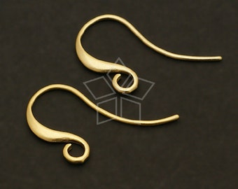 EA-039-MG / 6 Pcs - Simple Line Hook Ear Wires, Matte Gold Plated over Brass / 17mm x 13mm