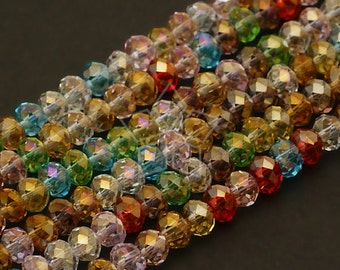 GM-C16-MT / 1 Strand - 4mm Faceted Crystal Rondelle Beads (Multi Color) / 4mm x 3mm