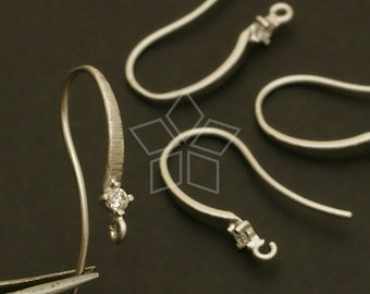 EA-086-MS / 2 Pcs - Elegant Cubic Ear Wires, Matte Silver Plated over Brass / 17mm