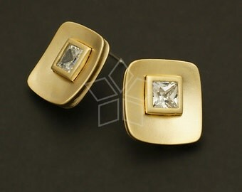 SI-243-MG / 2 Pcs - Quad Cubic Earrings, Matte Gold Plated over Brass Body with .925 Sterling Silver Post / 16mm x 17mm