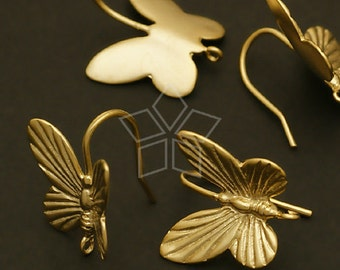 EA-090-MG / 2 Pcs - Butterfly Hook Earrings, Matte Gold Plated over Brass / 13 x 14mm