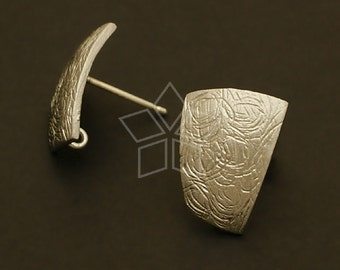 SI-056-MS / 2 Pcs - Shield Earring Findings, Matte Silver Plated over Brass, with .925 Sterling Silver Post / 11mm x 15mm