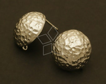 SI-120-MS / 2 Pcs - Hammered Dome Earrings, Matte Silver Plated over Brass Body with .925 Sterling Silver Post / 16mm