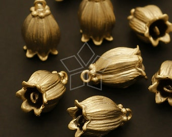 PD-344-MG / 4 Pcs - Tulip Bell Pendant, Matte Gold Plated over Brass / 9mm x 14mm
