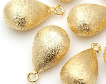 PD-094-GD / 4 Pcs - Brushed Hollow Drop Pendant, Gold Plated / 11mm x 19mm