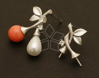 SI-474-MS / 2 Pcs - Spray Earring Findings, Matte Silver Plated, with .925 Sterling Silver Post / 9mm x 13mm