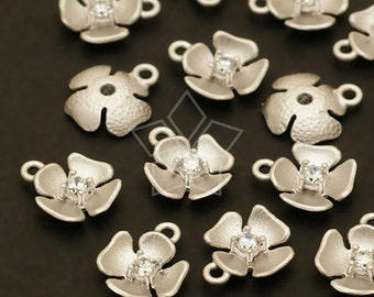 PD-349-MS / 4 Pcs - Tiny Floweret Charms, Matte Silver Plated over Pewter / 7mm x 8mm