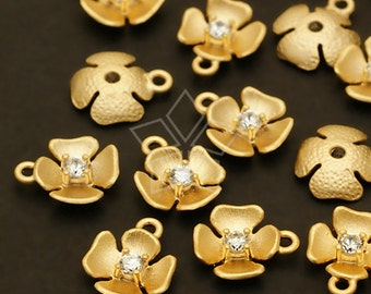 PD-350-MG / 4 Pcs - Tiny Floweret Charms, Matte Gold Plated over Pewter / 7mm x 8mm