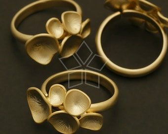 RR-009-MG / 1 Pcs - Mushroom Ring Base (Adjustable), Matte Gold Plated over Brass / Free Size
