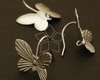 EA-093-MS / 2 Pcs - Butterfly Hook Earrings, Matte Silver Plated over Brass / 13 x 14mm