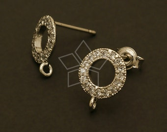 SI-482-OR / 2 Pcs - Jewel Ring Earring Findings, Silver Plated, with .925 Sterling Silver Post / 9mm x 12mm