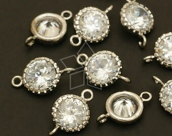 AC-432-OR / 4 Pcs - Vintage Round CZ Connector, Silver Plated over Brass / 8mm x 12mm