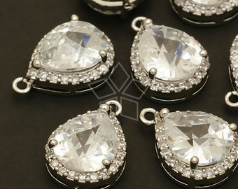 PD-386-OR / 2 Pcs - Cubic Zircon Bezel Setting Drop Pendant (L-size), Silver Plated over Brass / 13mm x 18.5mm