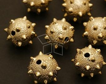 ME-096-GD / 2 Pcs - Mace Sanding Ball Beads, Gold Plated over Brass / 12mm