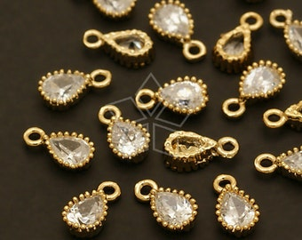PD-403-GD / 4 Pcs - Very Tiny Drop CZ Charms, Gold Plated over Brass / 4mm x 7mm