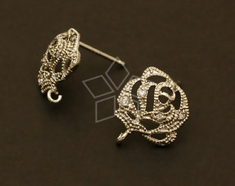 SI-055-OR / 2 Pcs - Jewel Rose Earring Findings, Silver Plated, with .925 Sterling Silver Post / 11mm x 12mm