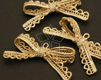 PD-410-MG / 2 Pcs - Lace BIG Ribbon Pendant, Matte Gold Plated over Pewter / 44mm x 23mm