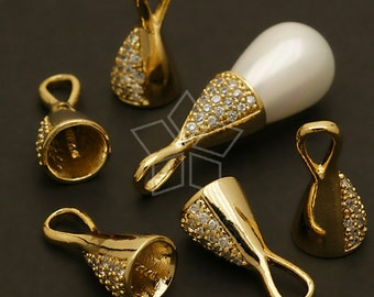 PD-416-GD / 2 Pcs - Jewel Cowl Pendant (for Half Drilled Drop), Gold Plated over Brass / 7.5mm x 15mm