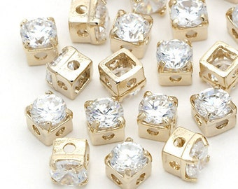 RD-004-GD / 10 Pcs - Square Cubic Zirconia Stone Beads, 16K Gold Plated over Brass / 4mm x 4mm