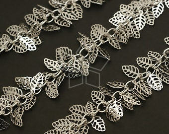 CH-050-OR / 40 cm - Chain Mini Leaf Charms, Silver Plated over Brass / 5mm x 10mm