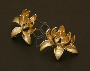 SI-494-MG / 2 Pcs - Lotus Flower Earrings, Matte Gold Plated over Brass Body with .925 Sterling Silver Post / 19mm x 17mm
