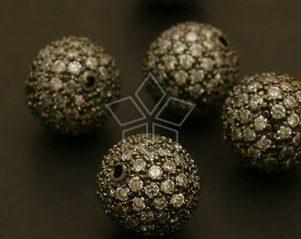 ME-109-BL / 1 Pcs - (Crystal) Pave Setting Cubic Bead Ball, Gunmetal Finished over Brass / 12mm