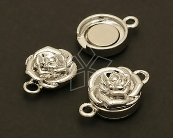 CS-039-OR / 2 Pcs - Rose Flower Magnetic Clasp, Silver Plated over Brass / 11.5mm