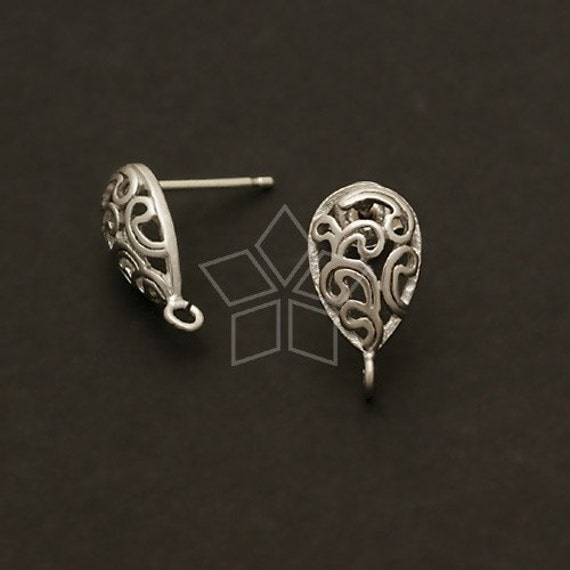 SI-289-MS / 4 Pcs - Paisley Drop Earring Findings, Matte Silver Plated over Brass Body with .925 Sterling Silver Post / 8mm x 13mm