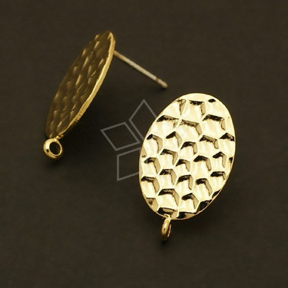 SI-331-GD / 4 Pcs - Snake Pattern(Oval) Earring Findings, 16K Gold Plated / 12mm x 17mm