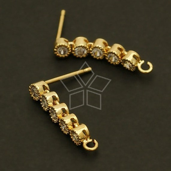 SI-048-GD / 2 Pcs - Serial CZ Stones Earring Findings, 16K Gold Plated over Brass Body with .925 Sterling Silver Post / 18mm