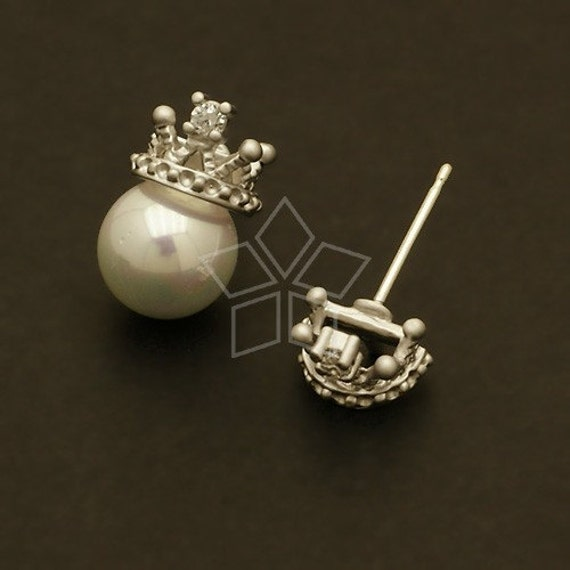 SI-411-MS / 2 Pcs - Tiara Earring Findings, Matte Silver Plated, with .925 Sterling Silver Post / 8mm x 6mm