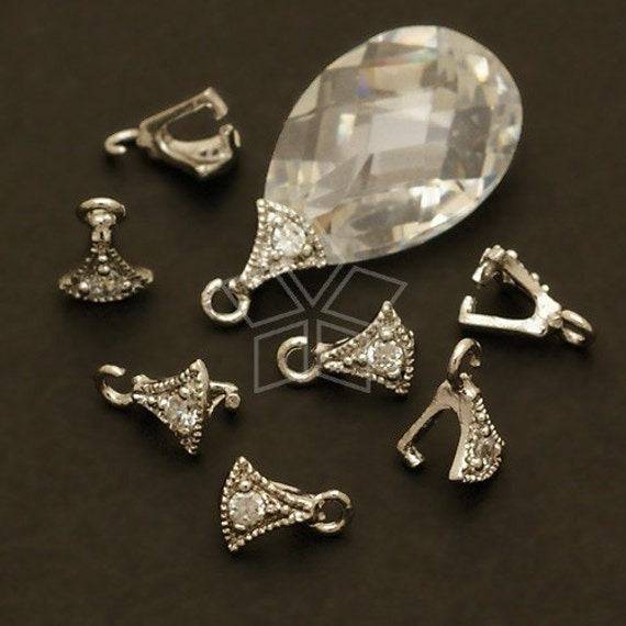 PS-056-OR / 4 Pcs - Axe Pinch Bail with CZ Stone Detail, Silver Plated over Brass / 4mm x 6mm