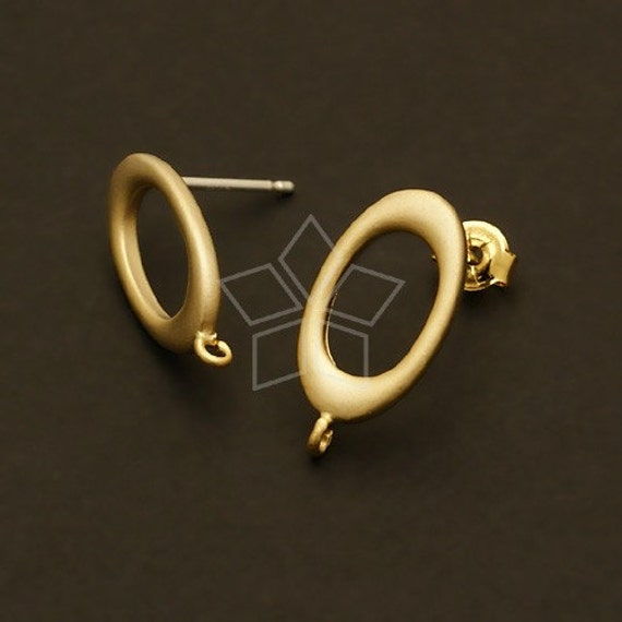 SI-420-MG / 4 Pcs - The Zeroes Earring Findings, Matte Gold Plated, with .925 Sterling Silver Post / 9mm x 17mm
