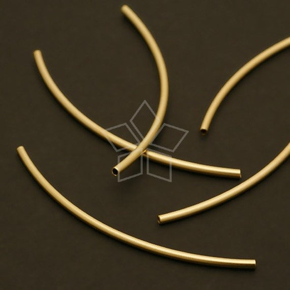ME-023-MG / 6 Pcs - Curved Tube(for 1mm Cord), Matte Gold Plated Brass / 50mm