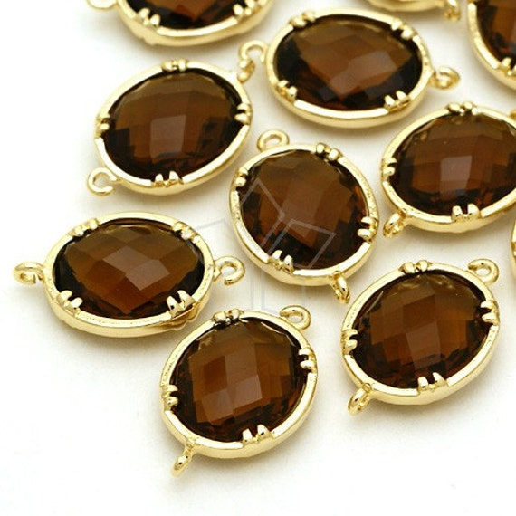ZC-107-GD / 2 Pcs - Oval Settings Connector (Smoked Topaz), Gold Plated over Brass / 10mm x 17mm