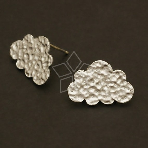 SI-441-MS / 4 Pcs - NEW Cloud Earring Findings, Matte Silver Plated over Brass Body with .925 Sterling Silver Post / 17mm x 12mm